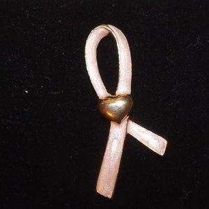 Breast Cancer Awareness Pink Ribbon Heart Pin